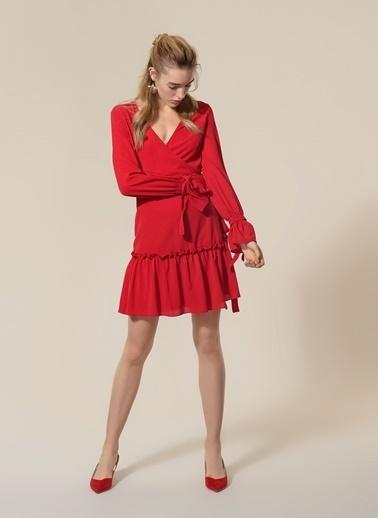 Agenda Anvelop Büzgü Detaylı Elbise Bordo